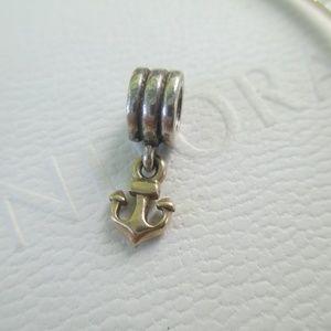 RETIRED Pandora 14k Gold Anchor Charm